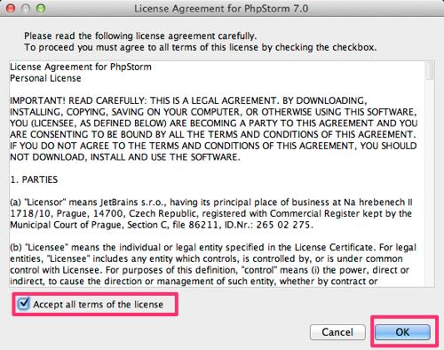 License Agreement for PhpStorm 7.0