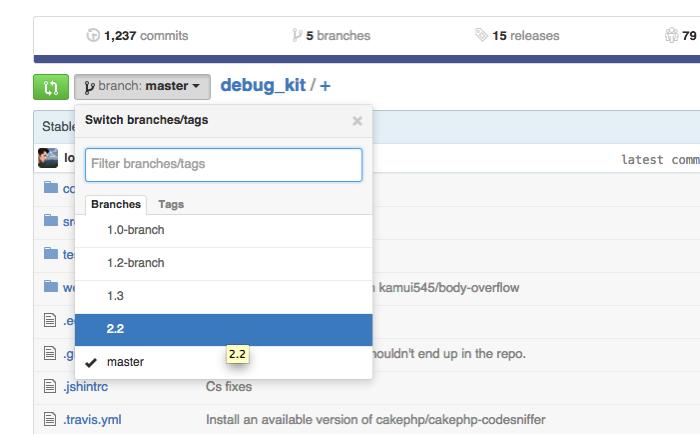 Cakephp debug kit GitHub